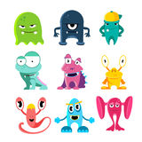 Cute cartoon monsters, vector illustration of funny characters Royalty Free Stock Photography