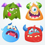 Cute cartoon monsters. Vector set of 4 Halloween monster icons. royalty free illustration