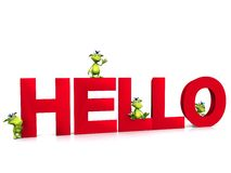 Cute cartoon monsters on the word hello. Stock Images