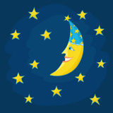 Cute cartoon moon character and stars in the night sky Royalty Free Stock Image