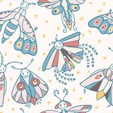 Cute cartoon moth with happy smiling face and night moons stock illustration