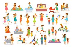 Cute cartoon mother and children isolated vector illustration scenes set, mom with daughter son kids. Baby cook, bake, play ride bike, make exercise sport run vector illustration