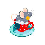 Cute Cartoon Mouse in the Bath of Cup. Vector Royalty Free Stock Images