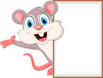 Cute cartoon mouse with blank sign Royalty Free Stock Images