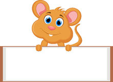 Cute cartoon mouse with blank sign Royalty Free Stock Photos