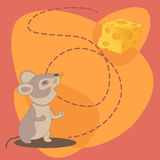 Cute cartoon mouse with cheese. Stock Images