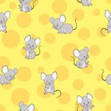 Cute cartoon mouse and cheese seamless pattern. stock illustration