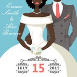 Cute cartoon mulatto bride and groom.Retro Wedding invitation Royalty Free Stock Images