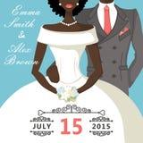 Cute cartoon mulatto bride and groom.Retro Wedding invitation Royalty Free Stock Images