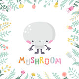 Cute cartoon mushroom illustration with flowers and lettering. Royalty Free Stock Photos