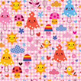 Cute cartoon mushrooms birds characters clouds nature seamless pattern Stock Photos