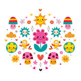 Cute cartoon mushrooms, flowers, hearts & birds nature illustration Stock Image