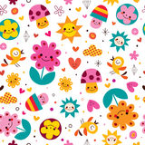 Cute cartoon mushrooms, flowers, hearts & birds nature seamless pattern Stock Photo