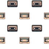 Cute cartoon music tape seamless pattern backgrund illustration Stock Images