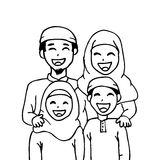 Cute Cartoon Muslim Family Hand Drawing Illustration Royalty Free