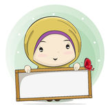 Cute Cartoon of a Muslim Girl Holding a Board for Text Space. Vector Illustration stock illustration