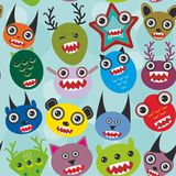 Cute cartoon muzzle Monsters seamless pattern on Stock Photos