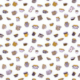 Cute cartoon naive cups seamless vector pattern. Kids style drawing. Stock Photo