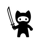 Cute cartoon ninja cat. With katana sword. Adorable vector black and white cat illustration in simple minimal Japanese style Royalty Free Stock Images