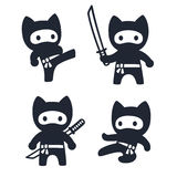 Cute cartoon ninja cat set. Adorable vector black and white drawings in simple modern Japanese style Royalty Free Stock Photography