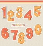 Cute cartoon numbers. Set cartoon numbers from 1 to 0 Stock Photos