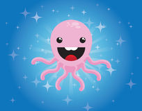 Cute cartoon octopus character on blue background Royalty Free Stock Photography