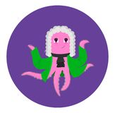 Cute cartoon octopus over water. Animal character royalty free illustration