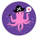 Cute cartoon octopus over water royalty free illustration