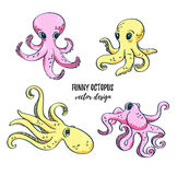 Cute cartoon octopuses set. Vector image. Underwater life. Royalty Free Stock Image