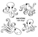 Cute cartoon octopuses set. Vector image. Underwater life.  ocean design elements. Royalty Free Stock Photography