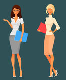 Cute cartoon office girls Royalty Free Stock Photo