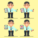 Cute Cartoon Office Workers with Checklist. Royalty Free Stock Images
