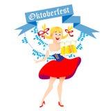 Cute cartoon Oktoberfest girl. Cute cartoon Oktoberfest german girl waitress in traditional clothes with beer. Vector illustration Royalty Free Stock Image