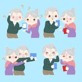 Old couple with alzheimer vector illustration