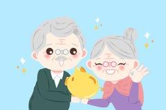 Cute cartoon old couple Stock Image
