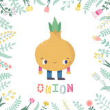 Cute cartoon onion illustration with flowers and lettering. Royalty Free Stock Images