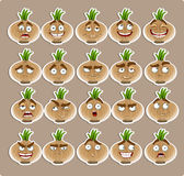 Cute cartoon onion smile with many expressions royalty free stock image