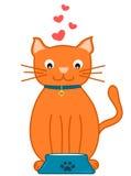 Cute cartoon orange cat and his cat bowl concept illustration Stock Images