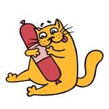 Cute cartoon orange cat want smoked sausage salami. Vector illustration Royalty Free Stock Photos