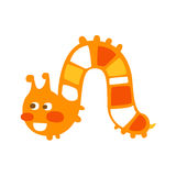 Cute cartoon orange caterpillar colorful character vector Illustration Royalty Free Stock Photo
