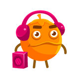 Cute cartoon orange fruit listening to the music with a boombox and headphones, colorful character vector Illustration Royalty Free Stock Image