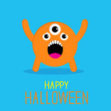 Cute cartoon orange monster. Happy Halloween card Royalty Free Stock Photos