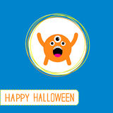 Cute cartoon orange monster. Orange background. Ha Royalty Free Stock Photography