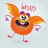 Cute cartoon orange monster. Vector fat monster mascot character. Halloween design for party decoration, print or children book. Cute cartoon orange monster vector illustration