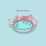 Cute cartoon organs love water Royalty Free Stock Images