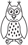 Cute Cartoon Owl. Vector illustration of a cute owl (in outlines Stock Photos
