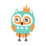 Cute cartoon owl bird with crown colorful character vector Illustration Stock Image