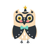 Cute cartoon owl bird in smart clothes and a hat with a star colorful character vector Illustration Stock Image