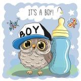 Cute Cartoon Owl boy Royalty Free Stock Image