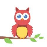 Cute cartoon owl on a branch. Illustration of cute cartoon owl on a branch Stock Photo